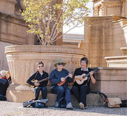 3/4 of the Old Broads uke quartet