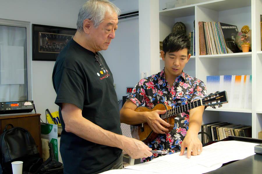 Byron Yasui, left, and uke virtuoso Jake Shimabukuro