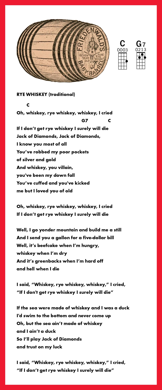 Rye Whisky Uke Tab Ukulele Lesson Traditional Tune